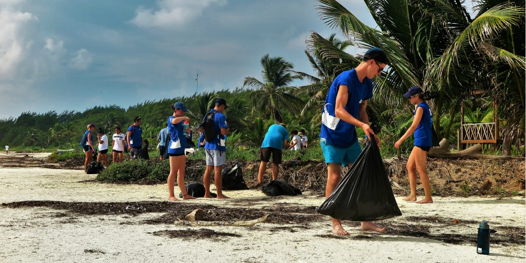 GVI volunteers help to ensure the safety of marine and terrestrial animals by completing a beach clean up in Mexico.