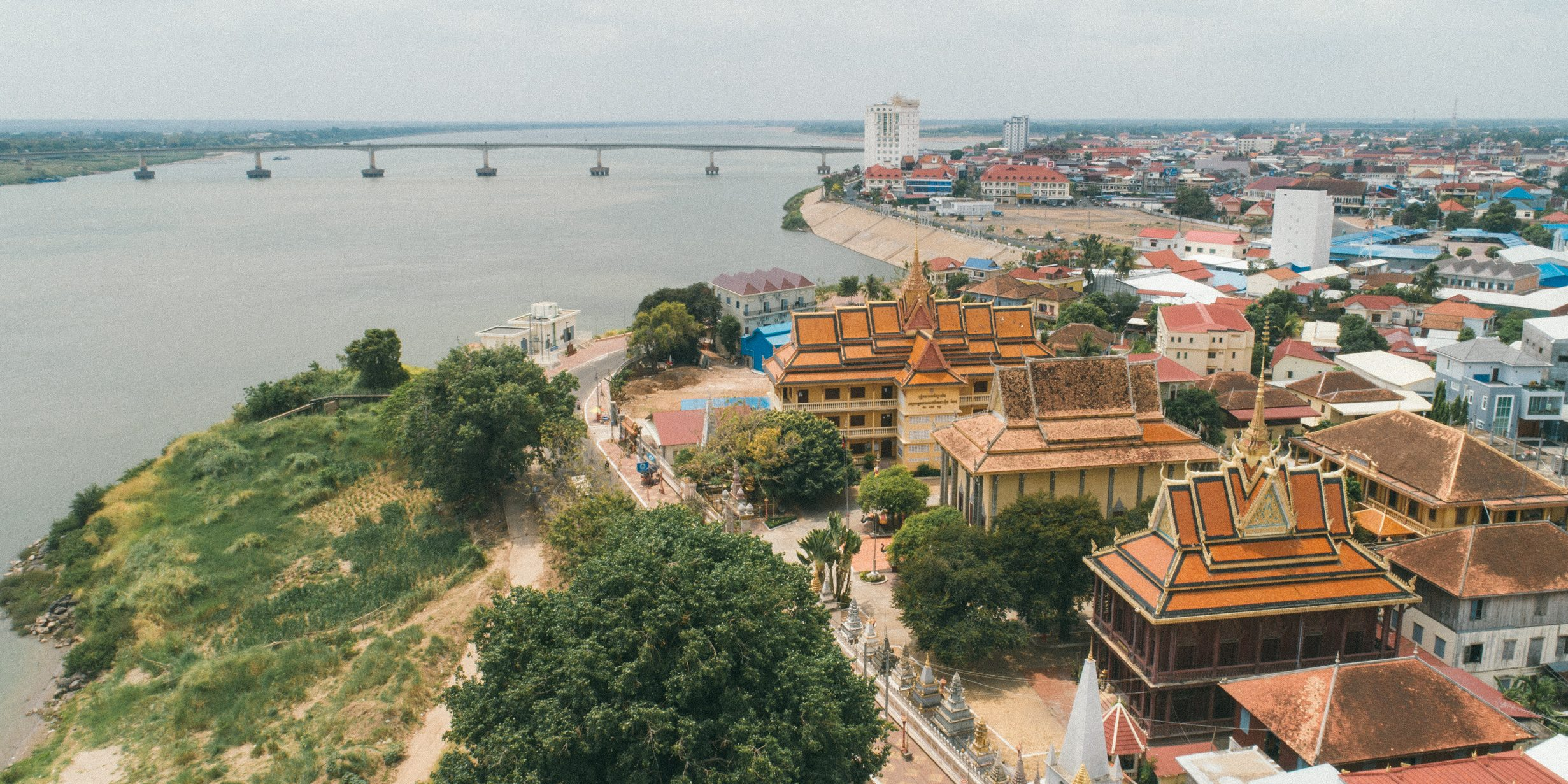 Gap year opportunities could take you to the city of Kampong Cham, beside the Mekong river.