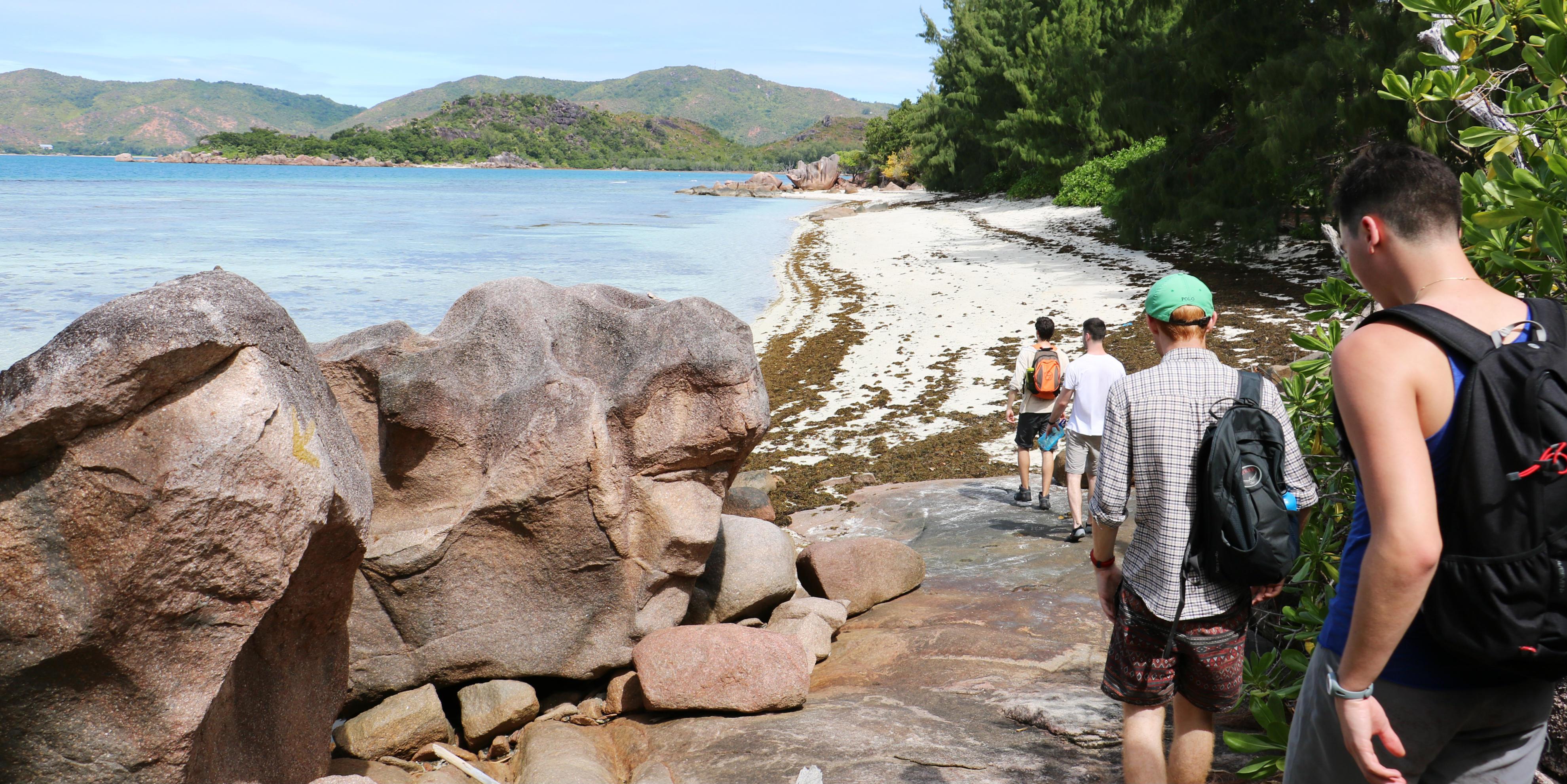 GVI participants enjoy a walk on an island in the Seychelles archipelago.