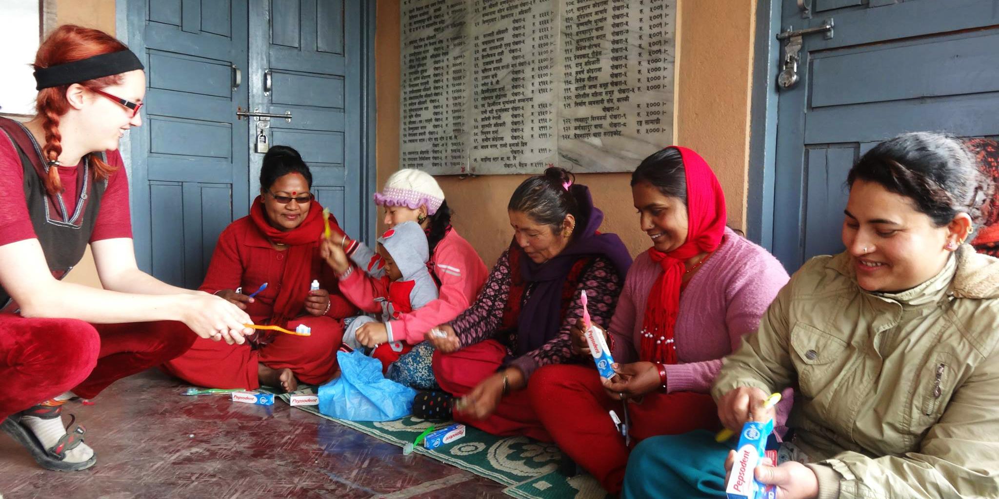 A GVI participant helps facilitate a preventative healthcare workshop in Nepal.