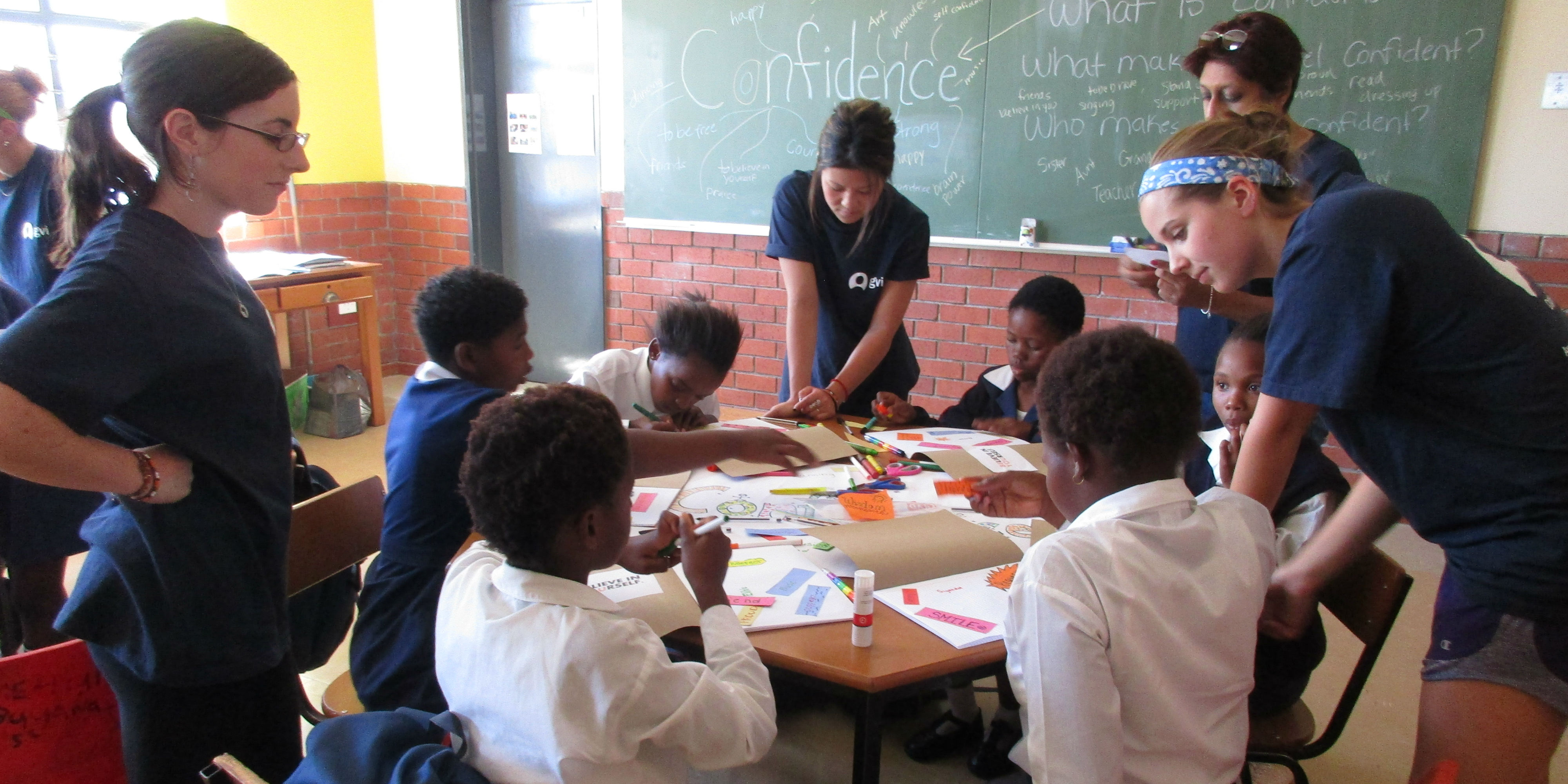 GVI teachers apply their TEFL skills while leading a class in Limpopo, South Africa.