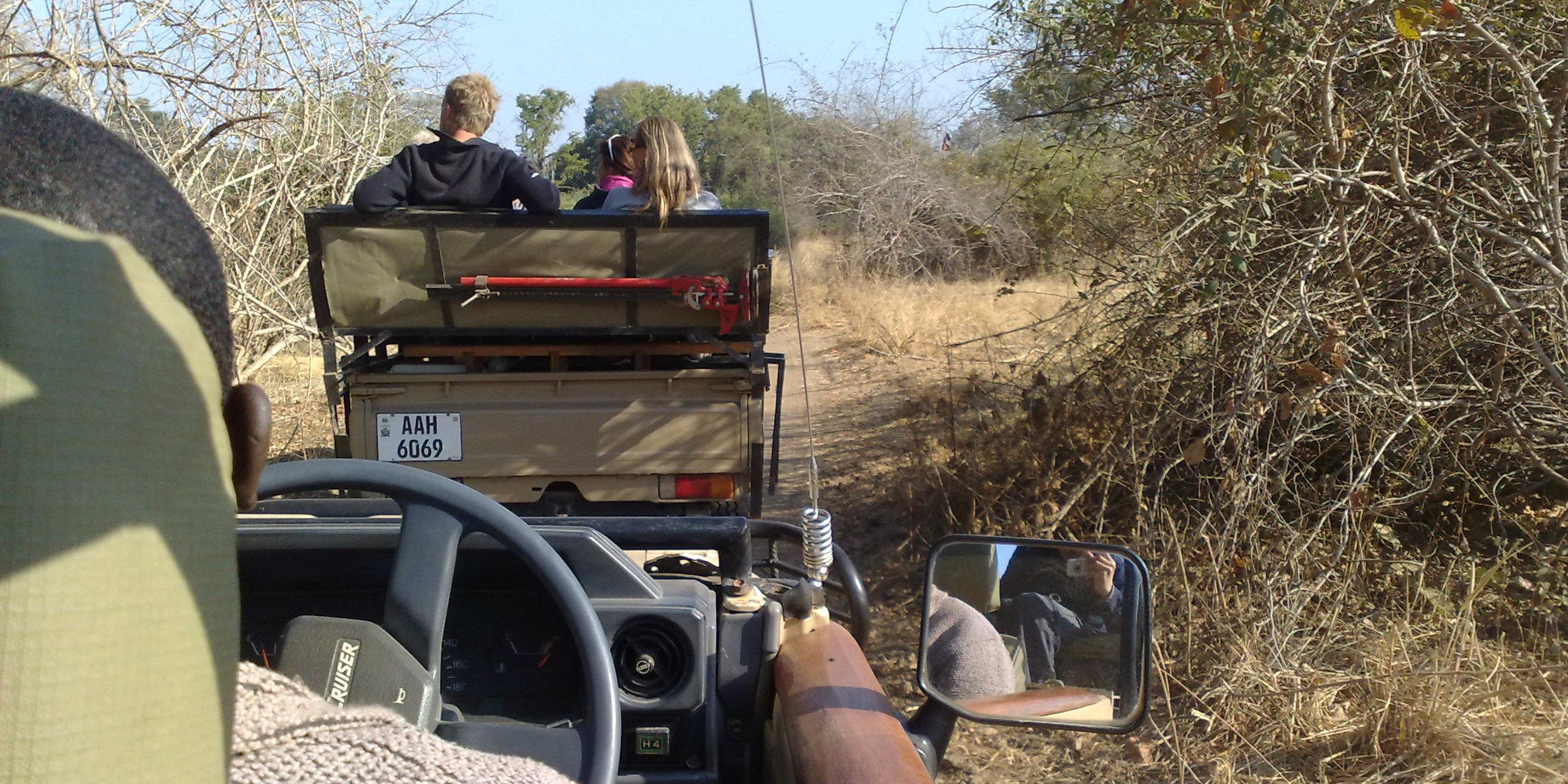 A group enjoys a Zambia safari.
