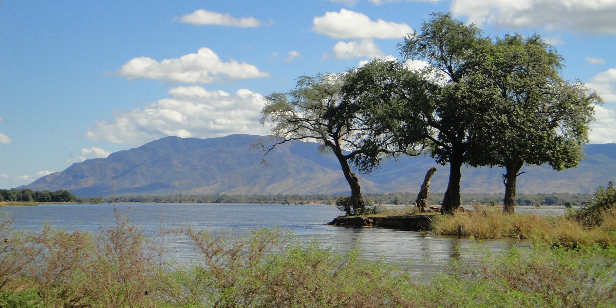 A wide expanse of water in Zambia is a great place to visit on a Zambia safari.