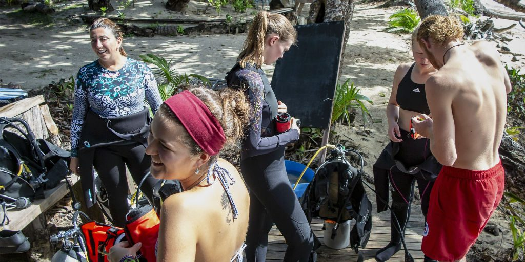 GVI volunteers earn their open water advanced PADI certificate on the marine conservation internship.