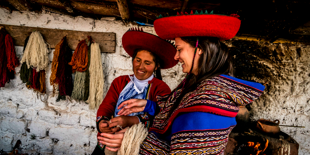 A GVI volunteer on a women's empowerment program in Peru during a gap year.