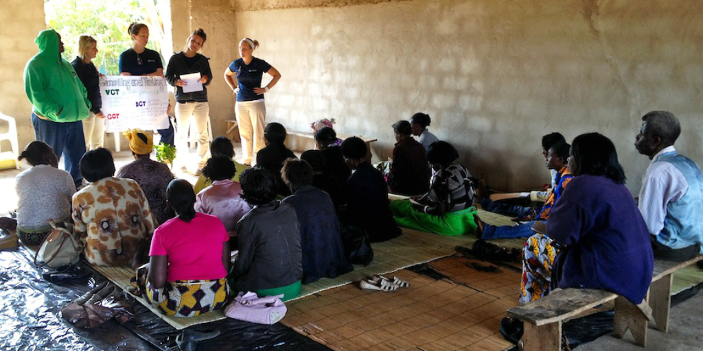 GVI volunteers on a women's and girls empowerment program in Zambia.