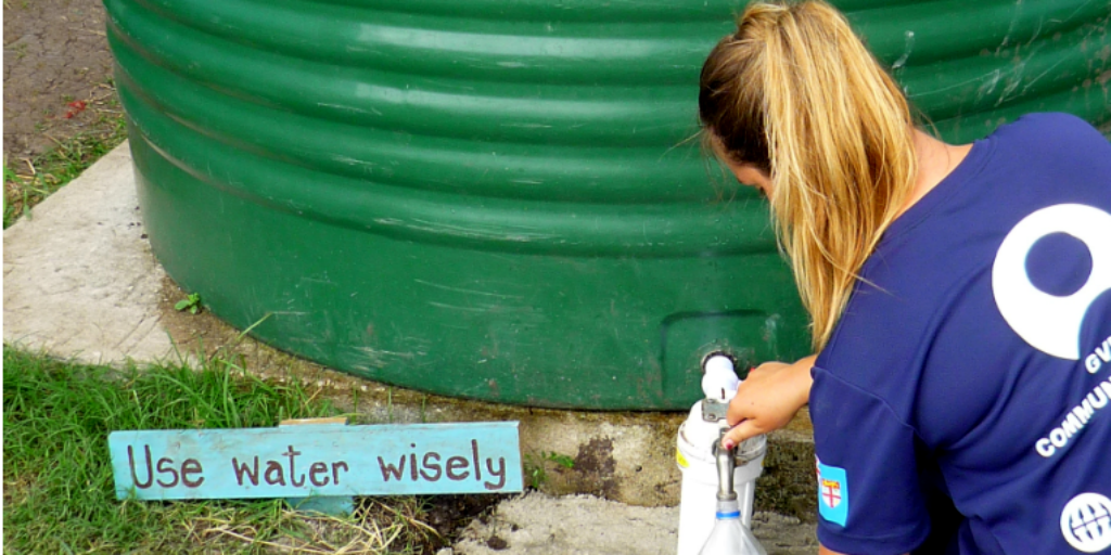 A GVI volunteer saving water.
