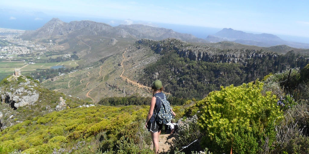 A volunteer wearing hiking gear and looking out over the view from a mountain peak.
