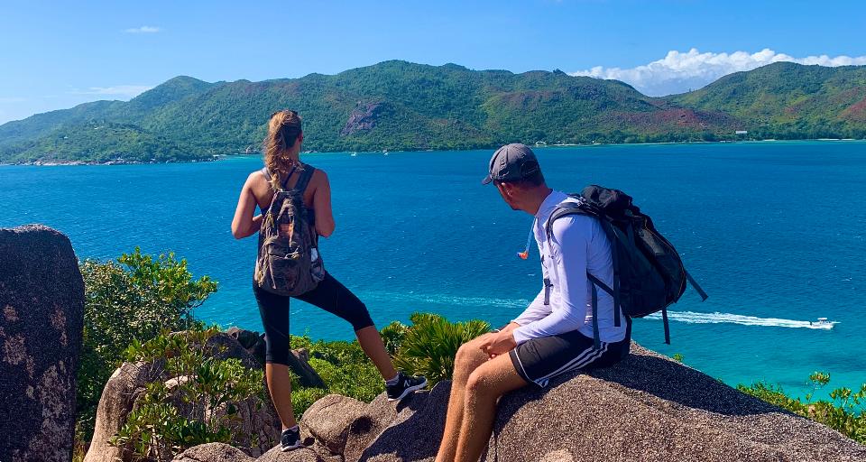 2 Volunteers on hike admiring view