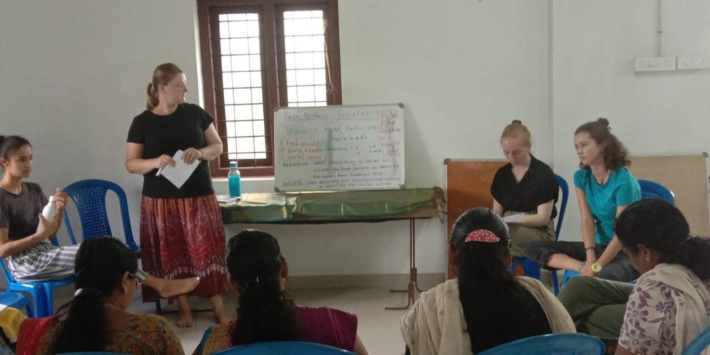 GVI volunteer gaining public speaking experience on women's empowerment program